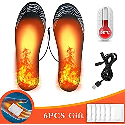 Hook Semelle Chauffante Thermique, Semelles Chauffantes USB Chauffant Electrique Rechargeables Ski Homme Chaussures ChauffePied, 6 Pcs Chauffe-Mains