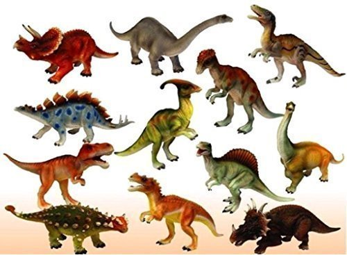 PLAY DESIGN Historic Dinosaurs Animals Toy 6 Pcs - 9 cm 10Cm Dinosaur Toys - Multi Color