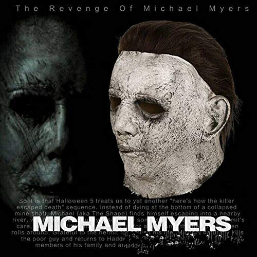 Kostüm Clown Michael Myers - HOUADDY Michael Myers Maske Halloween Horrorfilm Kostüm Requisiten Spielzeug Halloween Party Karneval Cosplay Trick Treat Studios Kostüm Erwachsene Latex Integralhelm Scary Requisiten