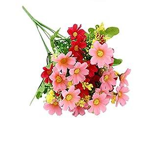 HotYou 3 Bouquet 28 Cabezas Artificiales Falsas Flor de Margarita Linda Decoración de Jardín de Bodas en el Hogar,Pink,3 Ramos
