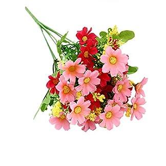 3 Bouquet 28 Cabezas Artificiales Falsas Flor de Margarita Linda Decoración de Jardín de Bodas en el Hogar