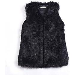 Las mujeres invierno chaleco abrigo corto mujer ropa abrigo de piel sintética Artificial elegante Slim sin mangas chaqueta chaleco, negro, Medium