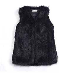 7a2ad8589f46ec Per Manteau sans Manche Fausse Fourrure Gilet Femme Hiver Veste Fourrure  Femme sans Manche Faux Fur