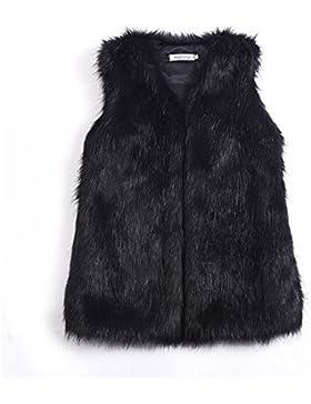 Chaleco corto de invierno para mujeres, de imitación de piel, sin manga, negro, Medium