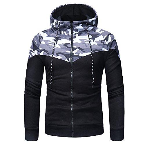 IMJONO Herrenkleidung Men es Camouflage Long Sleeve Print Hooded Sweatshirt Tops Jacket Coat Outwear(Large,Schwarz)