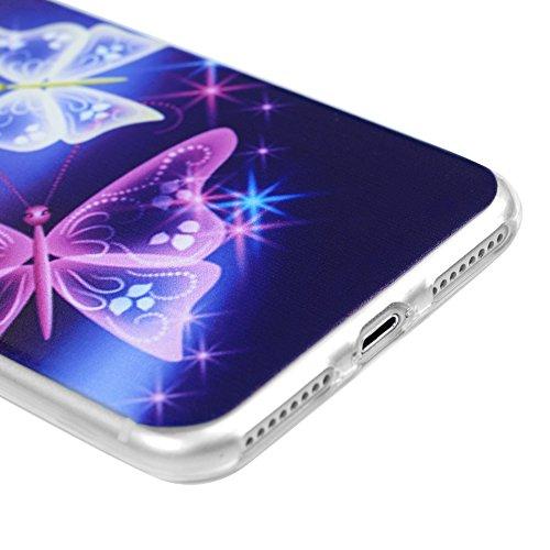 iPhone 7 Plus Hülle Tasche Kasos iPhone 7 Plus (5,5 Zoll ) Case Ultradünne Bunt Malerei Gemalt TPU Silikon Transparent Frame Schutzhülle Handyhülle Softcover Etui Bumper Schale mit Tribal Streifen Mus Schmetterling