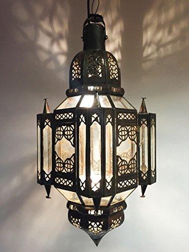 Orientalische Lampe Pendelleuchte Klar Askin 56cm E27 Lampenfassung | Marokkanische Design Hängeleuchte Leuchte aus Marokko | Orient Lampen für Wohnzimmer Küche oder Hängend über den Esstisch