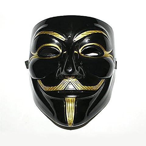 ILOVEDIY V pour Vendetta Masque - Guy Fawkes Fancy Dress Halloween Anonymous Costumes Cosplay (Noir)