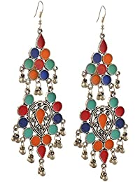Kaizer Jewelry Oxidized Silver Afghani Tribal Dangler Hook Chandbali Earrings For Women & Girls