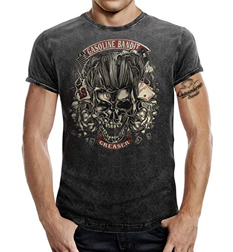 Rockabilly Greaser T-Shirt im Washed Jeans Look