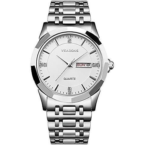 VEADONS Fashion da uomo in acciaio cinturino impermeabile orologio al quarzo bianco