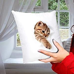 Geschenk Kissen mit Katzenmotiv Katze bricht durch lustig Geschenk für Katzenliebhaber Frauen Freundin Dekokissen…