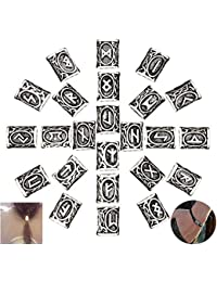 Nuluxi Perlas de Vikingo para Barba Accesorios de Cuentas de Barba Vikinga Perlas de Barba Vikingo de Runa Adecuado para Pelo Accesorios Collares Pulseras Paracaídas Colgantes DIY- Plata (24 Piezas)