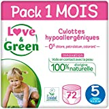 Love & Green Couches Culottes Taille 5 (11-25 kg) - Pack 1 mois (72 couches culottes)