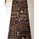 Alfombra/Camino, para cocina, diseño con texto Coffee/Espresso, Shabby Chic de aspecto de, lavable a máquina, antirutschbeschichtet, 67x 300cm), color marrón y beige