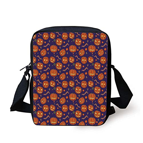 attern Different Face Expressions Happy Angry Scary Puzzled,Orange Indigo Yellow Print Kids Crossbody Messenger Bag Purse ()