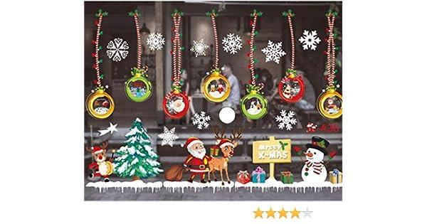 Sofenny Natale Vetrofanie Natale Adesivi Porta Natale Vetrofanie Addobbi Rimovibile Adesivi Statico Fai da Te Finestra Sticker Decorazione Babbo Natale Adesivi Fiocco di Neve