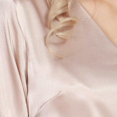 WanYang Dame Nachtkleid Nachtwäsche Spitze Ausschnitt Satin Pyjama Nachthemd Kamel
