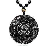 Ztan nero & Ice ossidiana collana ciondolo incisione drago e fenice con estensione catena di perline per uomini o donne e tungsteno, cod. ZT0001