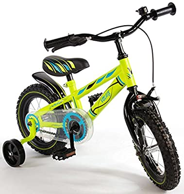 12 Zoll Fahrrad mit Rücktritt und Stützräder Kinderfahrrad Jungen Grün 71234