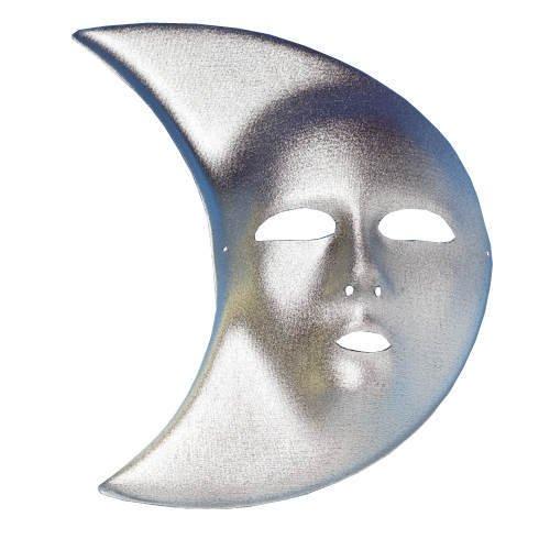 Maske Mond aus Textil, silber