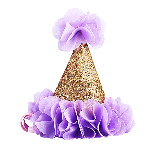 LanLan Glitter Headband For Baby Gold First Birthday Party Cone Hat With Purple Flowers