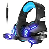 Versiontech Casque Gaming Pour PS4, PC, Xbox One, Casque Gaming Headset Audio Stéréo Filaire Avec Micro, LED, Contôleur de Volume En Ligne, Basse Surround Pour Macbook Air / Pro, Tablette, Ordinateur Portable, Nintendo Switch - Bleu Et Noir