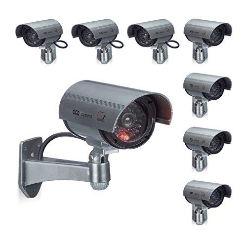 8 x Dummy Kamera im Sicherheits Set, CCD Kamera mit LED, schwenkbare ...