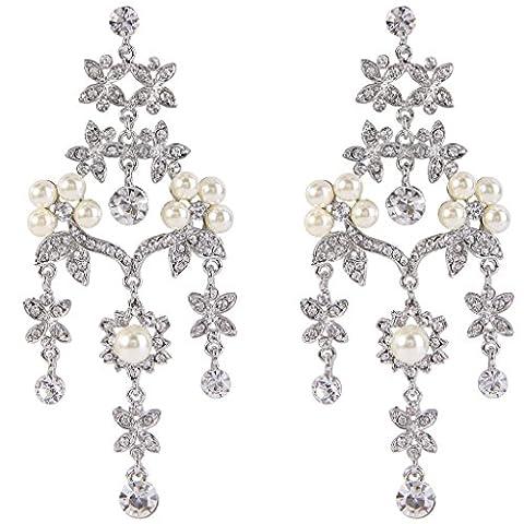 EVER FAITH® Women's Crystal Simulated Pearl Flower Leaf Chandelier Drop Earrings Clear Silver-Tone
