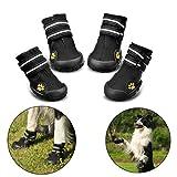 Royalcare Hundeschuhe Pfotenschutz, Wasserdicht mit Anti-Rutsch Sole Passend für Mittlere und große Hunde, Schwarz(6#)