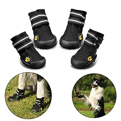 Royalcare Protective Dog Boots, Set of 4 Waterproof Dog Shoes with Wear-resistant and Rugged Anti-Slip Sole Suitable for… 1
