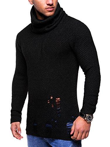 MT Styles Destroyed Pullover mit Rollkragen Strickpullover M-1002 Schwarz
