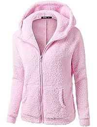MEIbax Sudaderas con capucha Abrigo con Capucha para Mujer Abrigo de Invierno Abrigo de Lana con Cremallera Abrigo de algodón Outwear