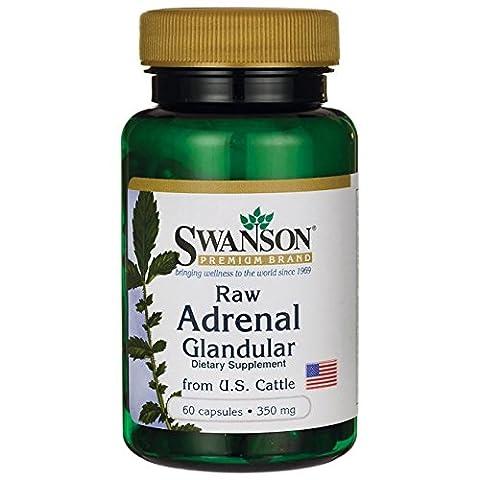 Swanson - Glandulaire Surrénal Brut 350mg, 60 gélules - Tissu de Glande de Cortex Surrénalien PUR & NATUREL issu de Bovins - Complément Alimentaire Bio-Actif (Raw Adrenal Glandular capsules)