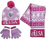 Frozen - Die Eiskönigin Kollektion 2017 Mütze Handschuhe und Schal One Size 5-8 Jahre Anna und ELSA Mehrfarbig Darkrosa Lila (One Size 5-8 Jahre, Darkrosa Lila)