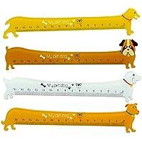 4X cosanter Cartoon Dogs Animals righello segnalibro Cancelleria in plastica per scuola ufficio lunghezza 15cm, colore casuale
