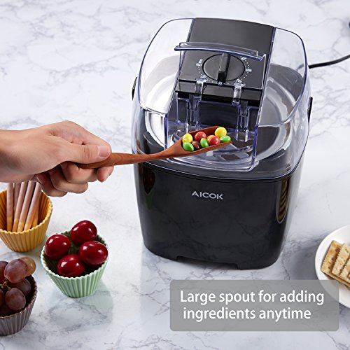 Aicok Ice Cream Maker Frozen Yogurt and Sorbet Machine with Timer Function and Recipe Book, 1.5L, Black