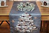 Kamaca Tischläufer X-Mas Tree Druck-Motiv mit weihnachtlichen Motiven mit Lotus Effekt FLECKSCHUTZ EIN Schmuckstück zu Winter Advent Weihnachten (X-Mas Tree, Tischläufer 40x150 cm)