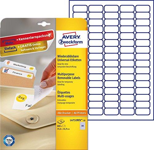 AVERY Zweckform L4732REV-10 Universal-Etiketten (A4, Papier matt, 800 Stück, 35,6 x 16,9 mm, 10 Blatt) weiß