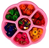 #6: AM Pom Pom Tassel- Combo in multicolors for earring/ jewellery/, bag accessories etc with free colourful multiuse storage box
