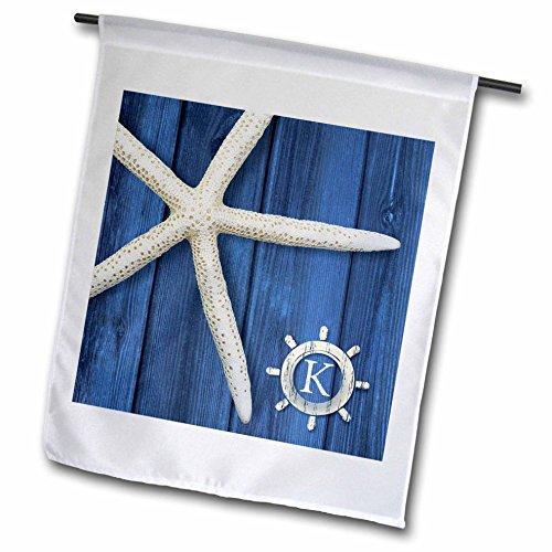 (3dRose Russ Billington Monograms- Seestern Initiale K–Monogramm Seestern Initiale K in Schiffe Rad über Blau Weatherboard–Flaggen, 12