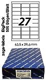 13.500 Etiketten 63,5 x 29,6 mm selbstklebend für Amazon FBA Versand auf DIN A4 Bögen (3x9 Etiketten) - 500 Blatt Bigpack - Universell für Laser/Inkjet/Kopierer/Farblaser einsetzbar