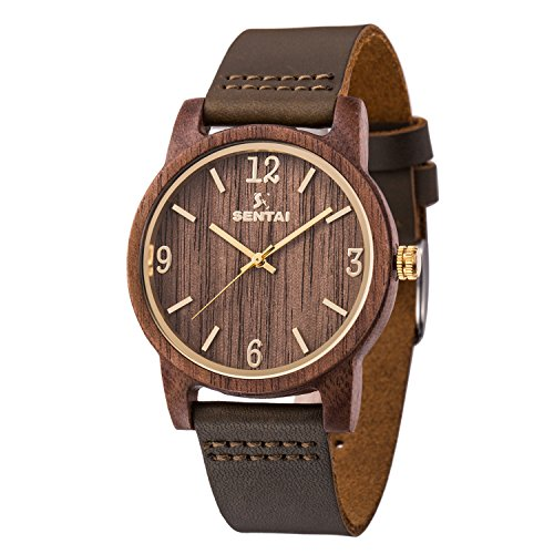 Natürliche hölzerne Uhr Sentai Holzuhr für Mann und Frau Lederarmband stilvolle und schöne handgemachte leichte Quarzuhren Unisex Armbanduhr Braun