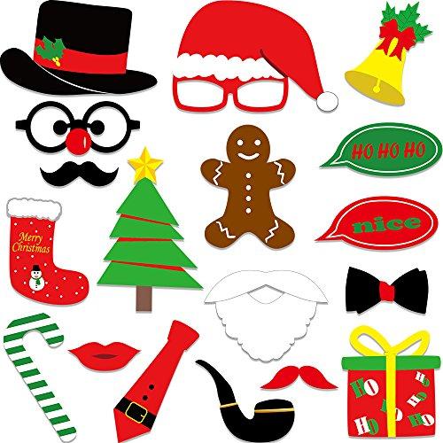 Kuuqa 18 Stück Weihnachten Foto Booth Requisiten Kit Xmas Requisiten für Weihnachten Party Dekoration (Party Lieferungen Dekorationen Und)