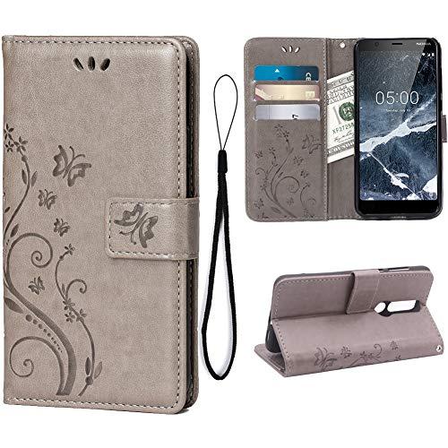 Teebo Custodia Cover per Nokia 5.1(5.5inch), Custodia a Portafoglio in Pelle PU Premium con Porta ID e Porta Carte di Credito con Supporto Chiusura Magnetica,Grigio