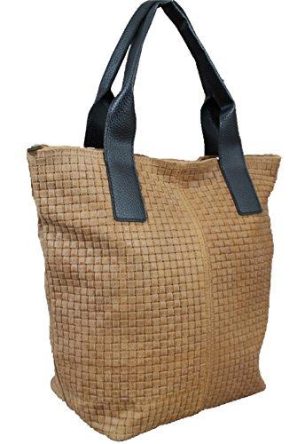 Made in italy sac à main style vintage sac à main pour femme en cuir tressé marron