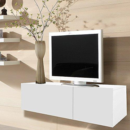 Melko Lowboard Fernsehschrank Sideboard aus Holz, 120CM TV, Weiß, ca. 120 x 40 x 33 cm (B x H x T), inkl. Gasdruckfedern