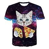 Lenfesh 2018 Nuevo Hombres 3D Gato Gatito impresión Camiseta Manga corta Cuello Redondo Blusa Tops Tees Verano/Primavera (S, B)