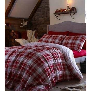 Housse de couette coton reversible aberdeen king size plaid tartan rouge cuisine - Housse de couette tartan ...