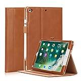 HeFFuny Hülle kompatibel für iPad 9.7 Zoll 2017/ 2018, iPad Air 2, iPad Air, PU Leder Case Cover Halter Tasche Etui Schutzhülle mit Stifthalter 3 Betrachtungswinkel, Braun